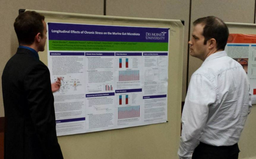 People presenting a research poster
